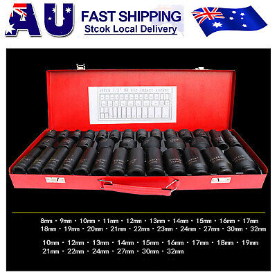 "35pcs 1/2"" Drive Deep Impact Metric Socket Set Car Garage Tools AU Stock"
