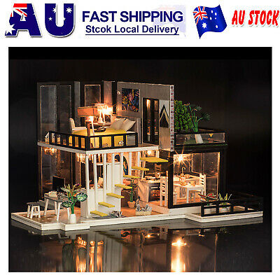 DIY LED Loft Apartments Dollhouse Miniature Wooden Furniture Kit Doll House