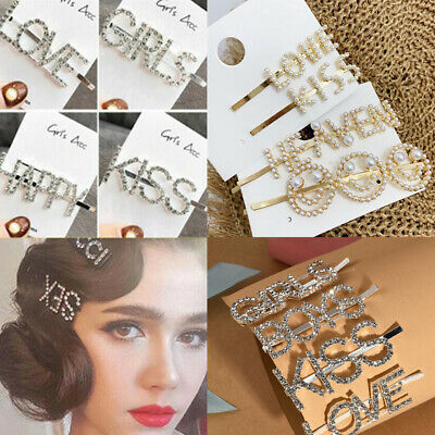 Women Girls Crystal Rhinestone Words Hairpin Hair Clips Hair Barrette Headwear