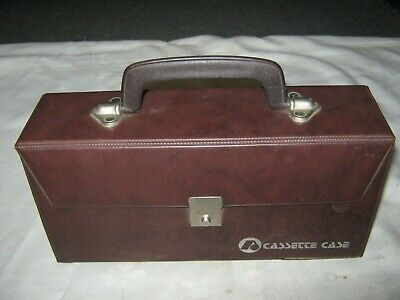 Vintage Retro Brown Vinyl 12 Cassette Tape Storage Carry Case with Index Board