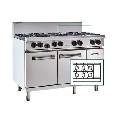 LUUS Professional 6 Burner 300mm Griddle & Oven Pilots Flame Fail RS-6B3P-P NG