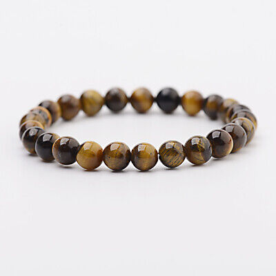 8mm Natural Stone African Roar Natural Tiger's Eye Round Beads Healing Bracelets