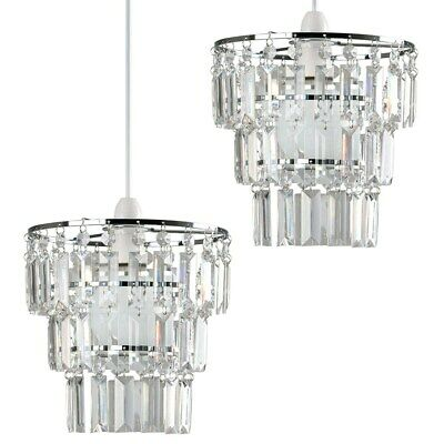 Pair Of Jewelled 3 Tier Ceiling Pendant Light Shades Acrylic Droplets LED Bulbs