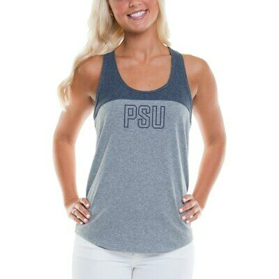 f2a46cc968146 Women s Heathered Gray Navy Penn State Nittany Lions Burnout Logo Tank Top