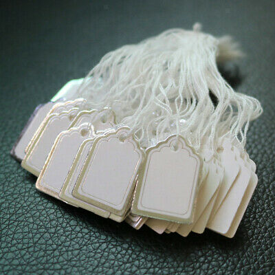 500pcs Small Merchandise Price Tags White Blank with Strings Strung 24x18mm