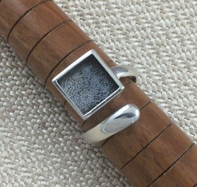 Sterling Silver Ring Blank 10mm Square Bezel Cabochon Setting Adjustable Finding