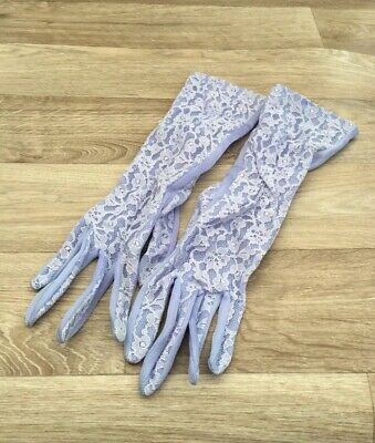 Vintage Nylon & Lace Ladies Light Blue Half Length Evening Gloves Small Size