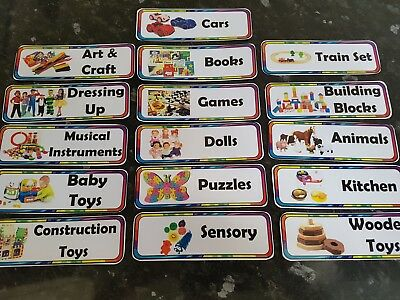 16 toy box labels childcare display labels toys 13cm x 4.5cm childminder nursery