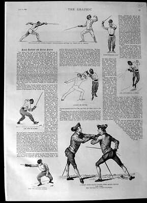 Old Antique Print 1892 French School Fencing Little Girld Dancing Dolls 19th