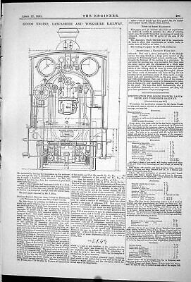 Old Engineering 1881 Goods Engine Lancashire Yorkshire Railway Diagra Victorian