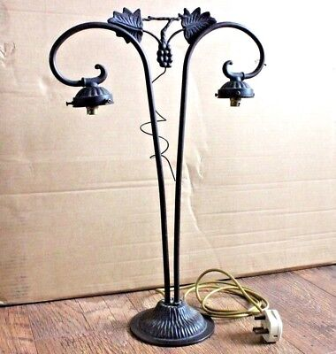 Vintage Old Ornate Brass Art Nouveau Style Twin Table Lamp - Rewired & Tested