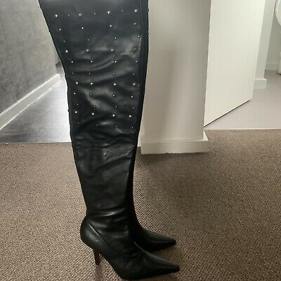 8d4b4d4d353 OFFICE KARMA 2 Stretch Over The Knee Leather Boots Size 5 - £27.50 ...
