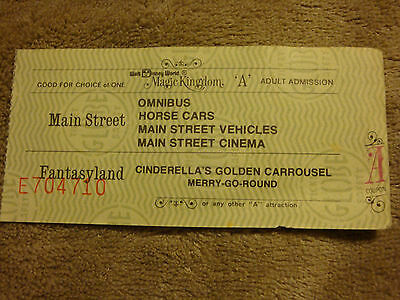 "Disneyworld Ticket Adult ""A"" Ticket With  5 Ride Choices Mid 1970'S E704710 Nice"