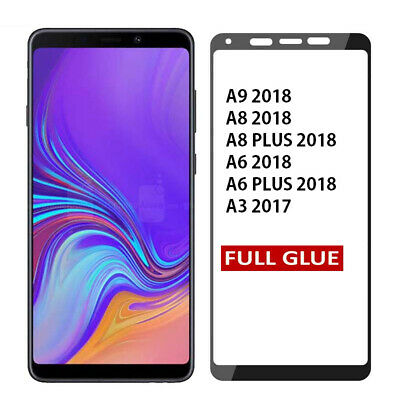 Full Glue Tempered Glass Screen Protector Samsung Galaxy A3 A9 A8 A6 Plus 2018