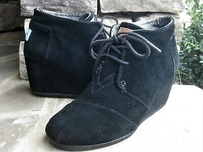858add2e803 TOMS WOMENS BLACK Suede Leather Wedges Booties Size 6 A45 -  43.69 ...