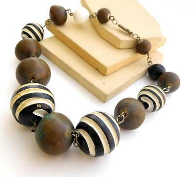 Vintage Hand Carved Painted Black White Wood Brass Bead Chain Ethnic Necklace I1