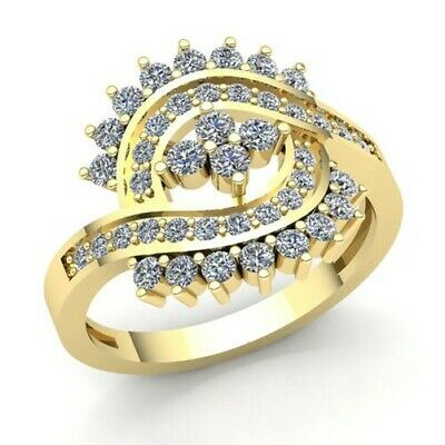 Natural 3/4carat Round Cut Diamond Ladies Bridal Fancy Right Hand Ring 10K Gold