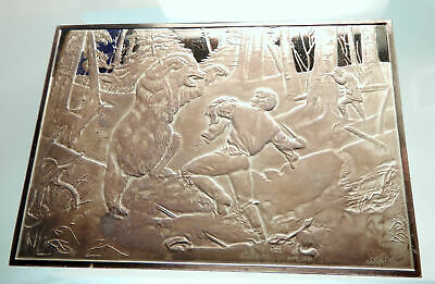 1974 THE LIFE OF A HUNTER A Tight Fix MAN FIGHTS BEAR Silver Plaque Medal i76046