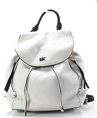 2c04e51a285ff8 Michael Kors Optic White Silver Evie Leather Convertible Backpack $398- #069