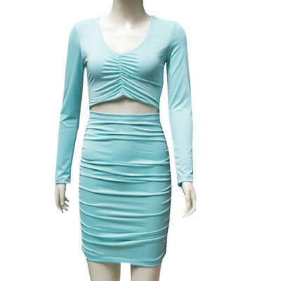 Sexy Women Hollow V-neck Bodycon Evening Party Dress Slim Night Club Wear S