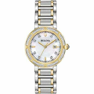 Bulova 98R260 Ladies Diamond Accented Two Tone Mother of Pearl Dial Watch