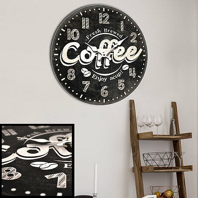 Vintage Wall Clock Coffee Imprint Decorative Time Display Grey Battery Operation