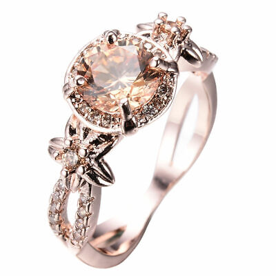 Fashion Champagne Topaz Wedding Ring 10KT Rose Gold Filled Jewelry Size 6-10