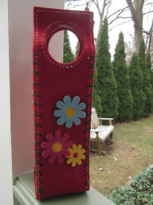 Felt Wine Bottle Holder Bag Carrier Hand Crafted Vintage Flower Power Hippie