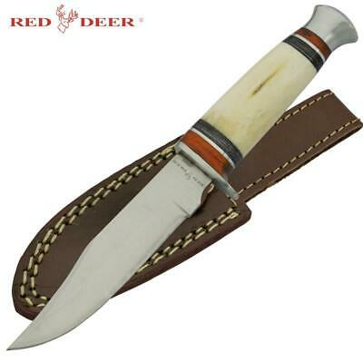 """RED DEER® Hunting Camping WHITE BONE 10"""" Survival Knife New w/Sheath Military"""