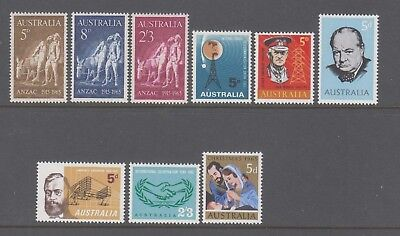 Australia 1965 Simplified Year collection 9  Mint unhinged stamps.VALUE