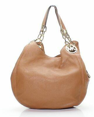 1d7ddec43efa4e Michael Kors Brown Gold Fulton Pebble Leather Large Shoulder Tote $398- #072