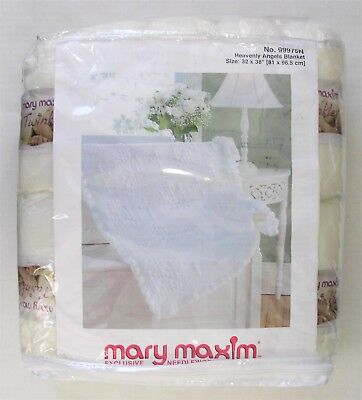 ✔️ Mary Maxim Crochet Kit Baby Afghan Throw White Heavenly Angels Blanket NEW