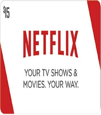 Netflix Gift Cards 15$ -USA account ONLY