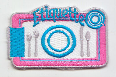 Boy Cub Girl Scout Fun Badge Patch~Ettiquette Place Setting Dinner Table