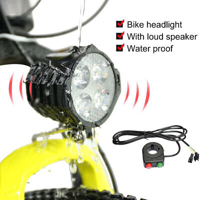 36V 48V High Brightness LED Front Fork Light EBIKE Headlight Spotlight w/ Horn