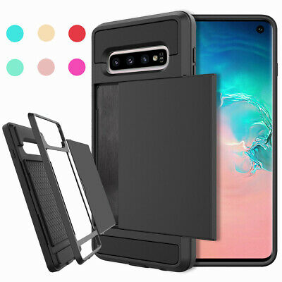 Hybrid Rubber Shockproof Card Holder Case Cover For Samsung Galaxy S10e S10 Plus