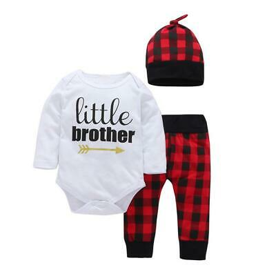Newborn Infant Baby Boys Girls Tops Romper Plaid Pants Hat Outfit Set Clothes