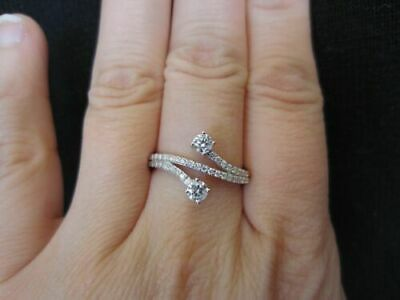 Certified 2.20 Ct Round Cut Diamond Fancy Bypass Engagement Ring 14K White Gold
