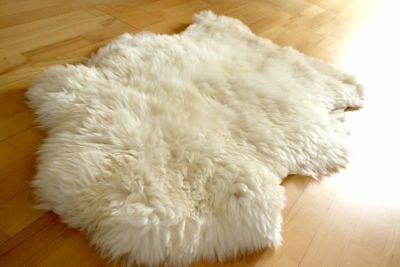 Genuine Australian Sheepskin Rug Single Pelt Ivory White 2x3 Ft Real Sheep Fur