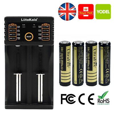 4 UltraFire 14500 Battery UK 3.7v Li-ion 2400mAh Rechargeable H426