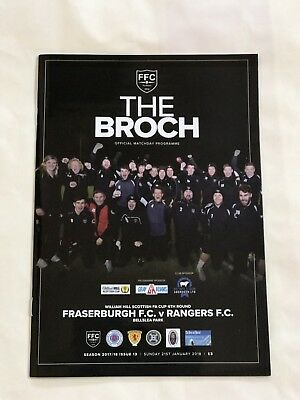 Fraserburgh v Rangers Jan 2018  Mint Official Programme Scottish Cup Postponed