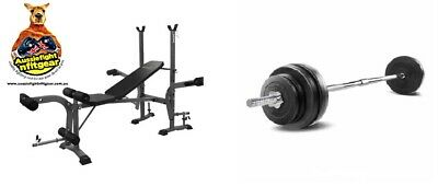 Everfit Multi-Station Weight Bench Press Weights inc 30kg weights & Bar package