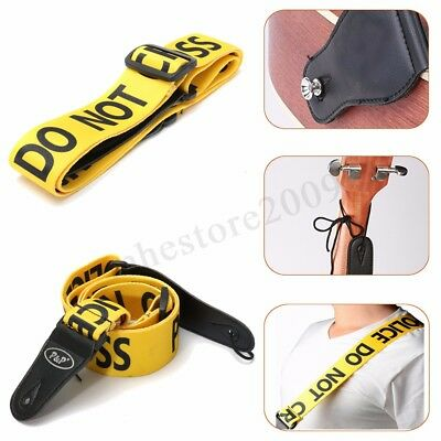 Adjustable Yellow Police Line Guitar Strap Durable Belt Acoustic Bass  ❤