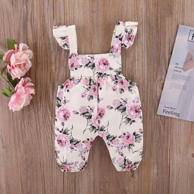 Baby Sleeveless Rompers Summer Rose Flower Printed Newborn Girls Jumps C4