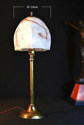 Vintage Edwardian 1910 cast brass desk lamp art deco marbled opaline glass shade
