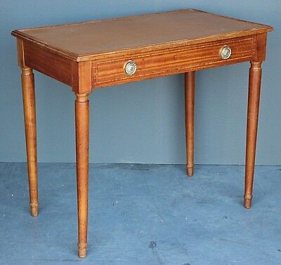 French antique blonde writing table inlaid leather desk drawer Art Deco 1910