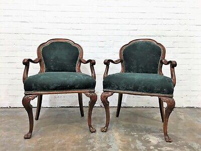 Gorgeous French Antique Pair of Green Chairs
