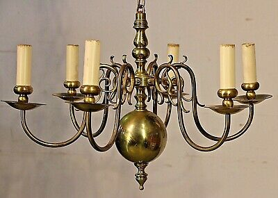 Large French provincial antique brass chandelier 6 arm light brass vintage lamp