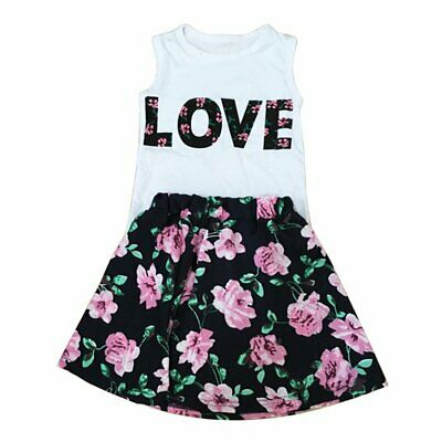 2PCS Floral Print Little Girls Tops Skirt Suit LOVE Sleeveless Tops Mini Sk N▩