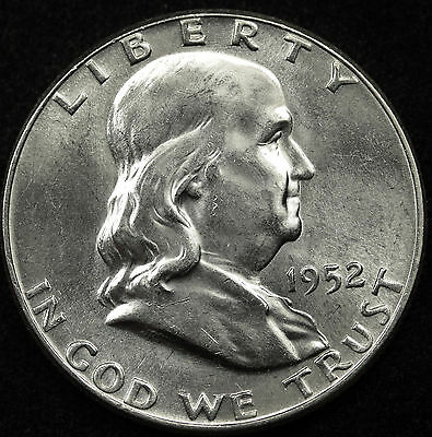 1952-p  Franklin Half Dollar. 100% Fully Separated Bell Line's. Nice B.U.(Inv-D